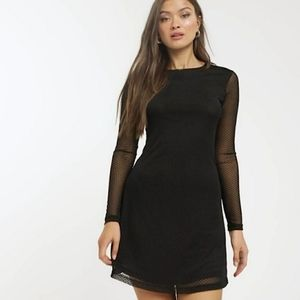 Long sleeve tulle mini dress w/ black dots